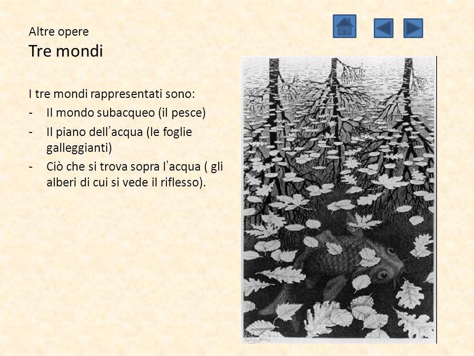 Altre opere Tre mondi I tre mondi rappresentati sono: Il mondo subacqueo (il pesce) Il piano dell'acqua (le foglie galleggianti)