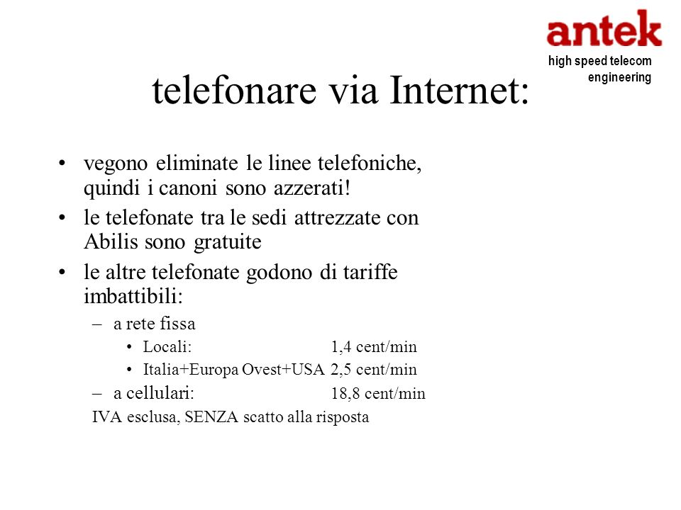telefonare via Internet: