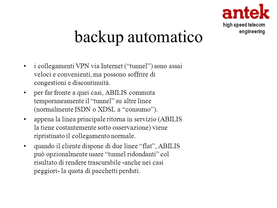 backup automatico high speed telecom engineering.