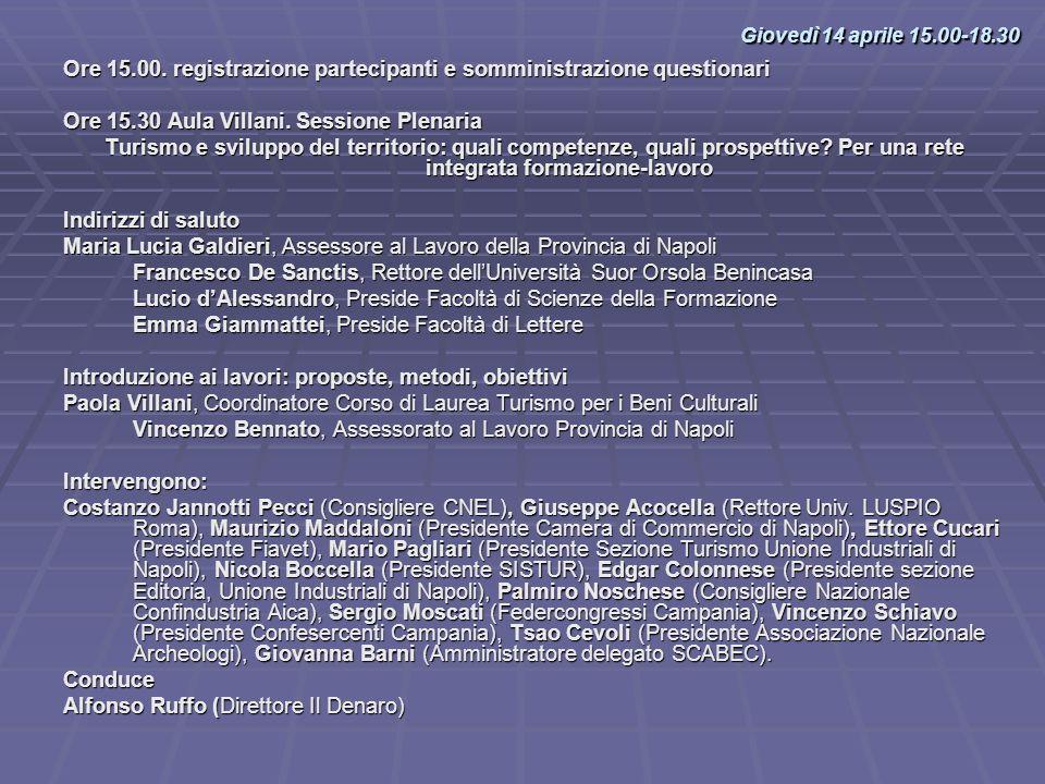 Giovedì 14 aprile 15.00-18.30Ore 15.00. registrazione partecipanti e somministrazione questionari. Ore 15.30 Aula Villani. Sessione Plenaria.