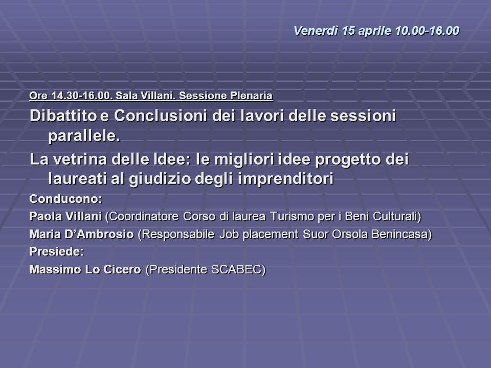 Dibattito e Conclusioni dei lavori delle sessioni parallele.