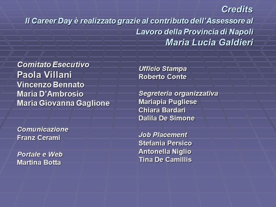 Credits Il Career Day è realizzato grazie al contributo dell'Assessore al Lavoro della Provincia di Napoli Maria Lucia Galdieri