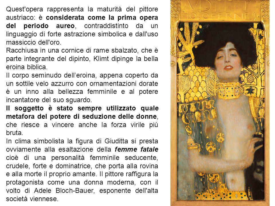 Quest opera rappresenta la maturità del pittore austriaco: è considerata come la prima opera del periodo aureo, contraddistinto da un linguaggio di forte astrazione simbolica e dall uso massiccio dell oro.