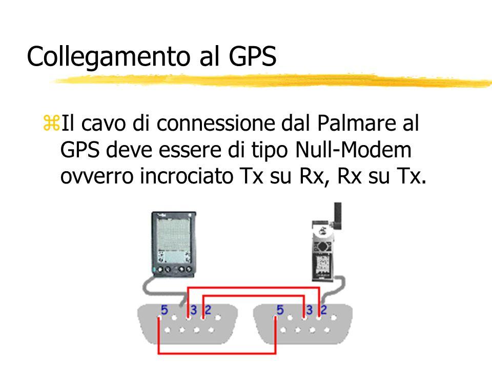 Collegamento al GPSIl cavo di connessione dal Palmare al GPS deve essere di tipo Null-Modem ovverro incrociato Tx su Rx, Rx su Tx.