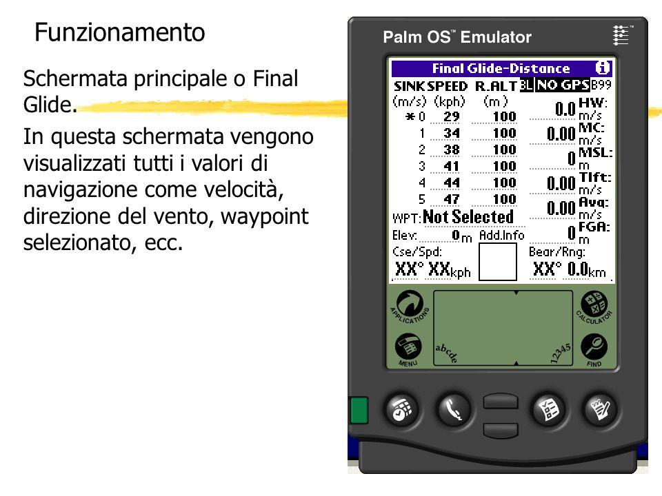 Funzionamento Schermata principale o Final Glide.