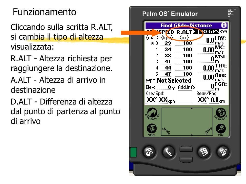 FunzionamentoCliccando sulla scritta R.ALT, si cambia il tipo di altezza visualizzata: R.ALT - Altezza richiesta per raggiungere la destinazione.
