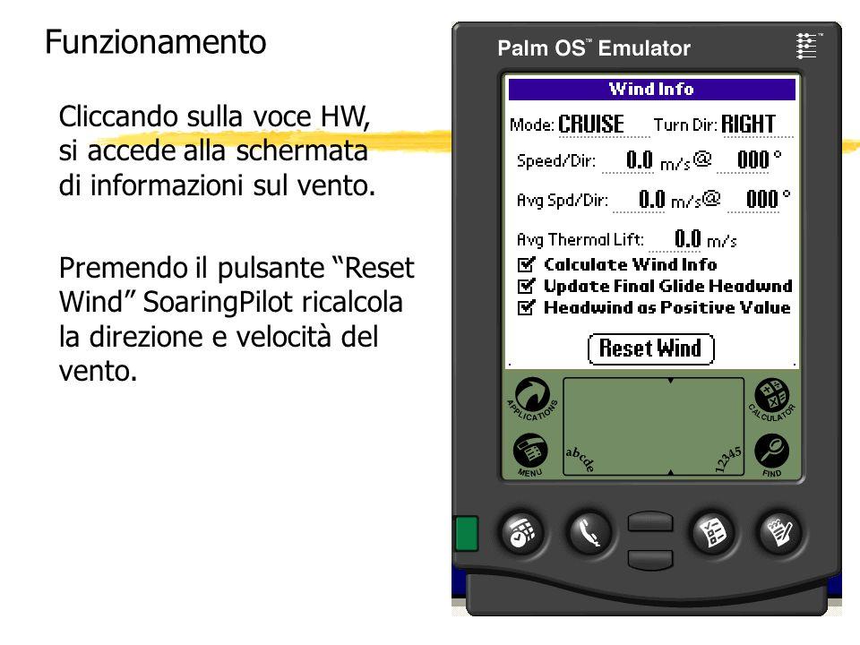 FunzionamentoCliccando sulla voce HW, si accede alla schermata di informazioni sul vento.