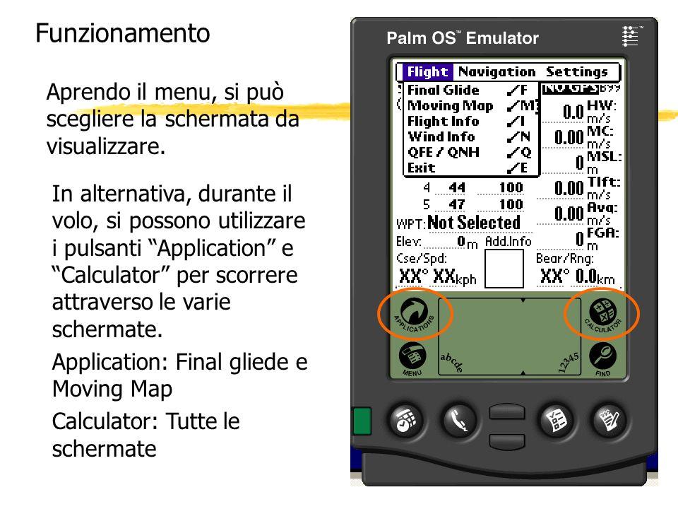 Funzionamento Aprendo il menu, si può scegliere la schermata da visualizzare.
