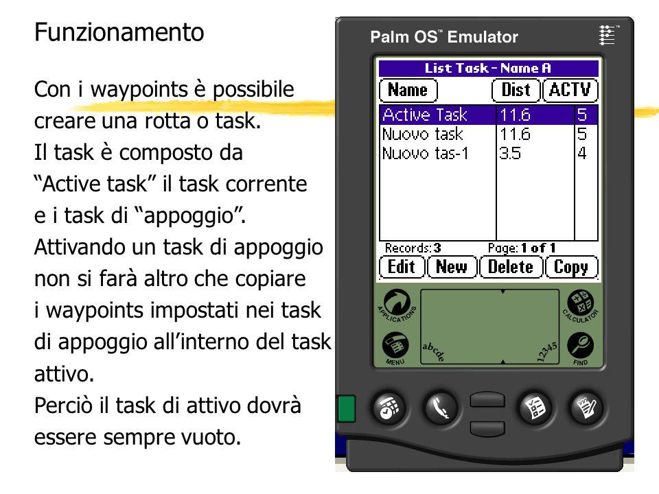 Funzionamento Con i waypoints è possibile creare una rotta o task.