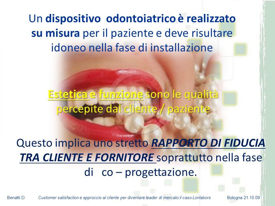 Estetica e funzione sono le qualità percepite dal cliente / paziente