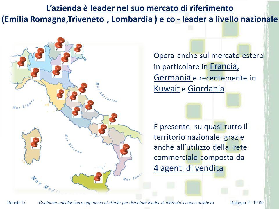 L'azienda è leader nel suo mercato di riferimento (Emilia Romagna,Triveneto , Lombardia ) e co - leader a livello nazionale