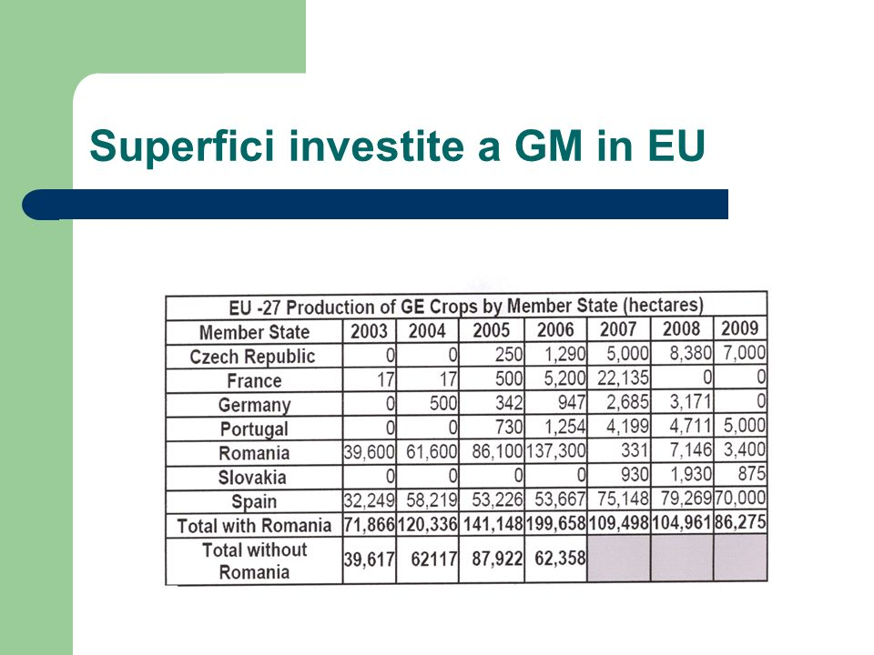 Superfici investite a GM in EU