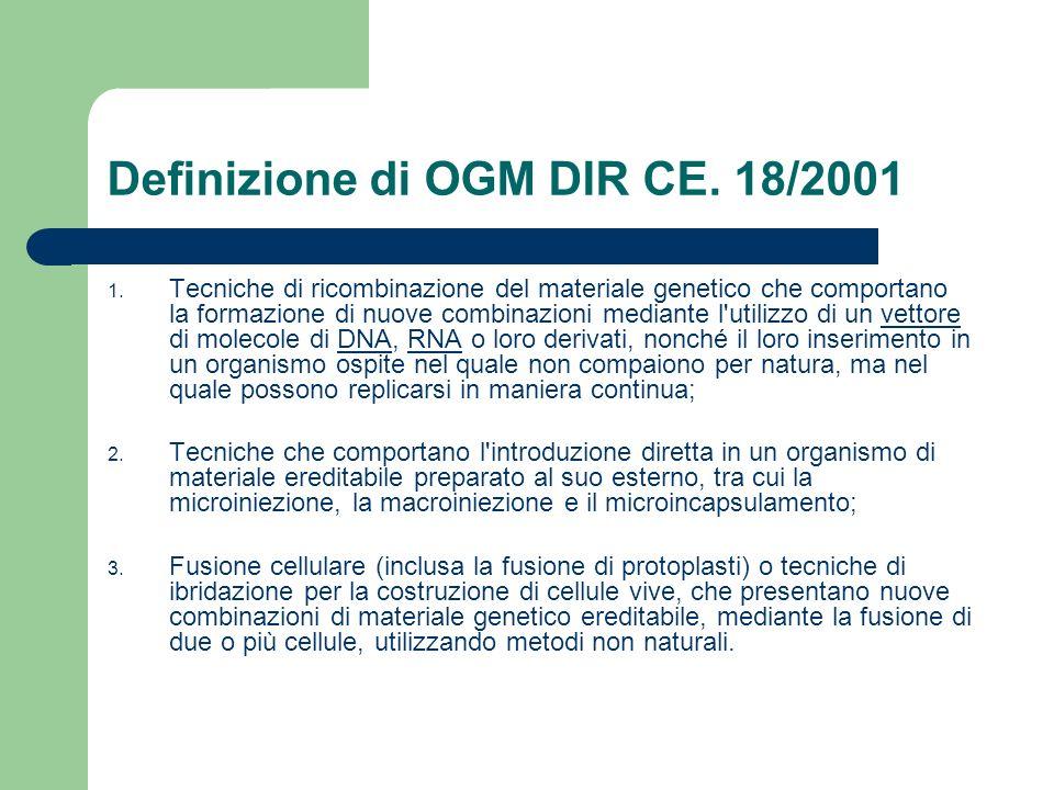 Definizione di OGM DIR CE. 18/2001