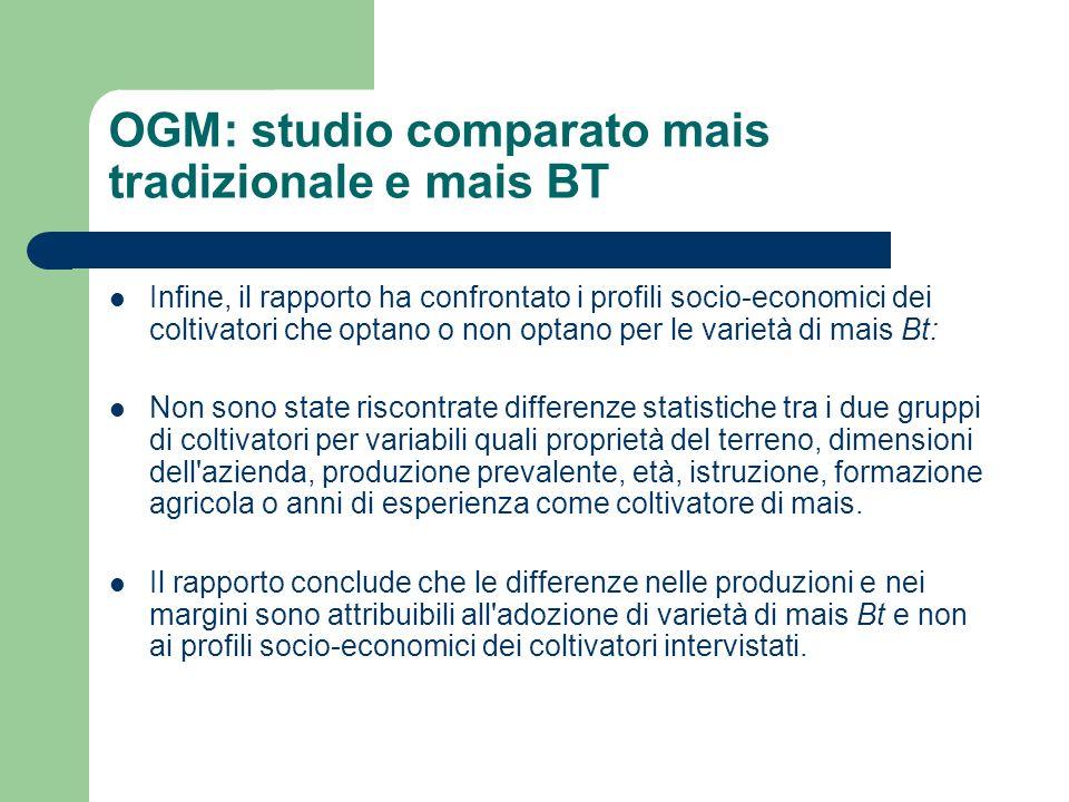 OGM: studio comparato mais tradizionale e mais BT