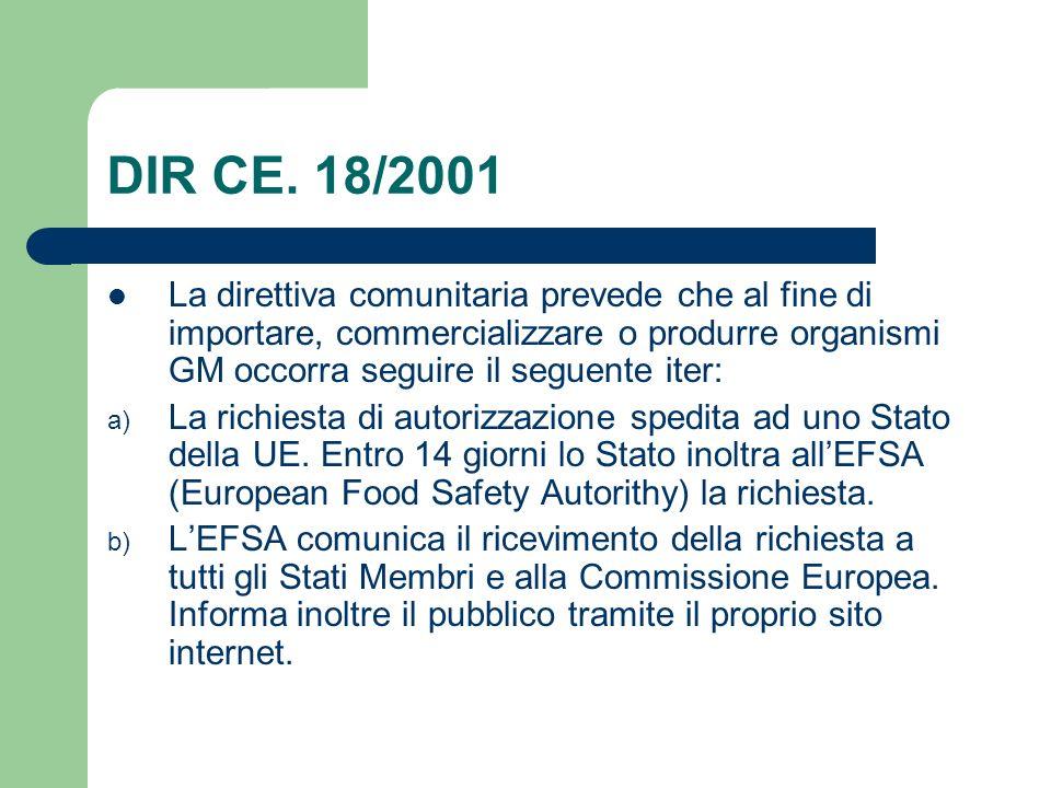DIR CE. 18/2001 La direttiva comunitaria prevede che al fine di importare, commercializzare o produrre organismi GM occorra seguire il seguente iter:
