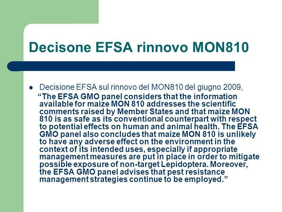Decisone EFSA rinnovo MON810