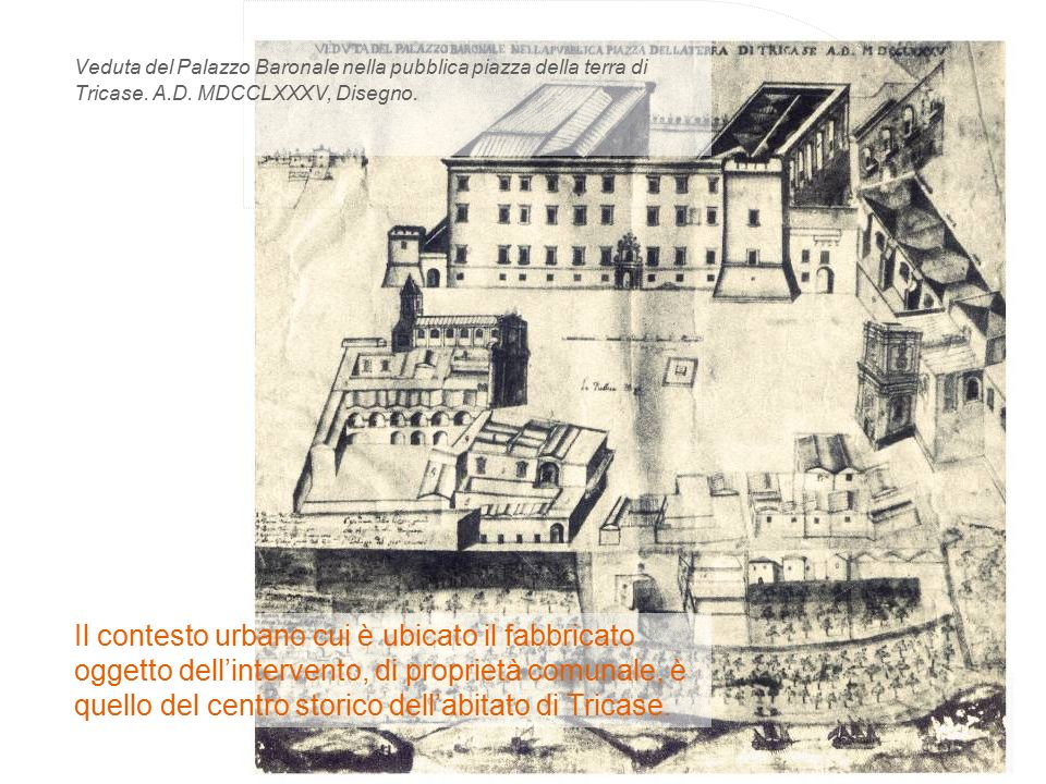 Veduta del Palazzo Baronale nella pubblica piazza della terra di Tricase. A.D. MDCCLXXXV, Disegno.
