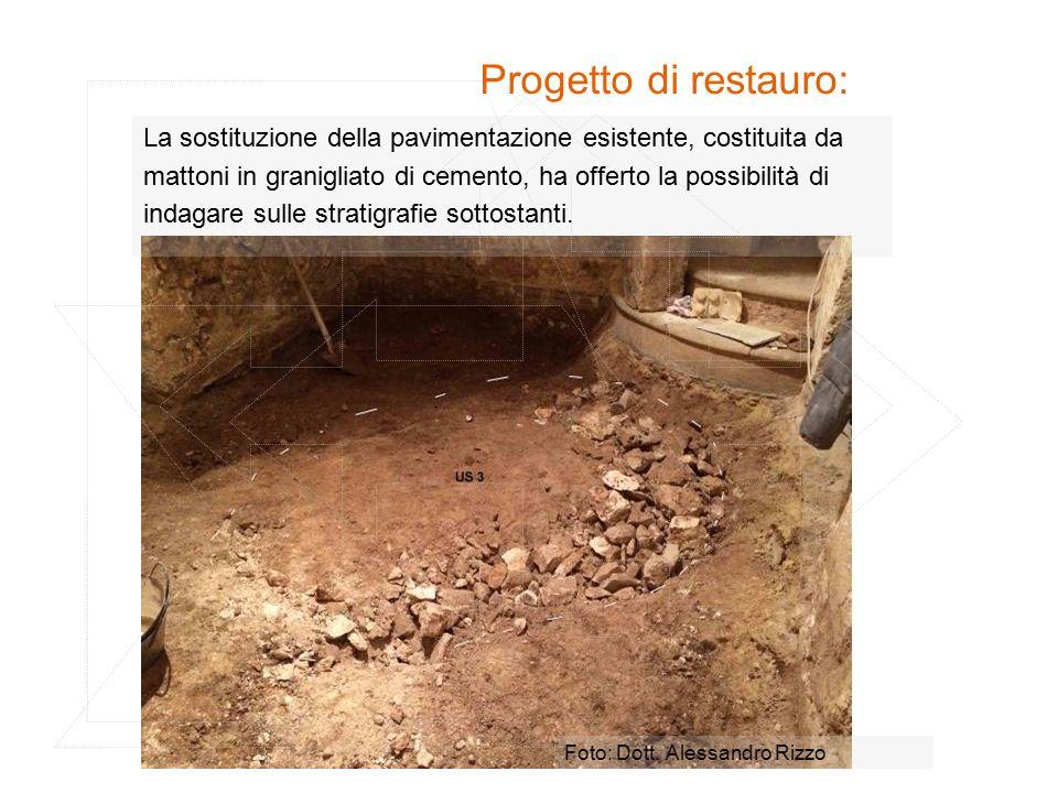Progetto di restauro: La sostituzione della pavimentazione esistente, costituita da. mattoni in granigliato di cemento, ha offerto la possibilità di.