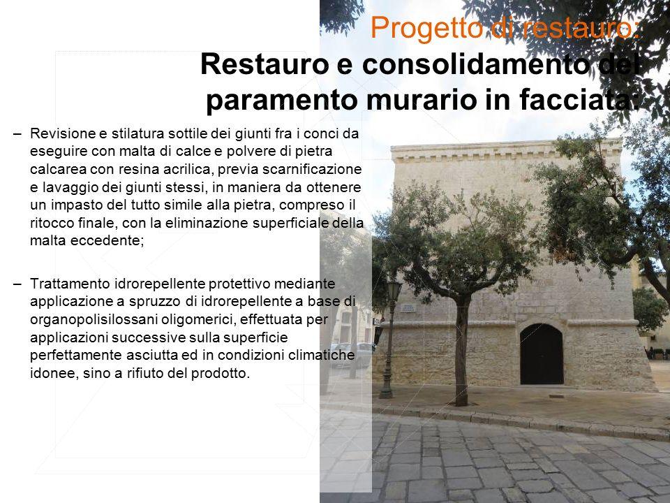 Progetto di restauro: Restauro e consolidamento del paramento murario in facciata: