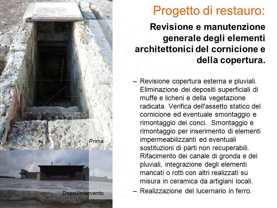 Revisione e manutenzione generale degli elementi architettonici del cornicione e della copertura.