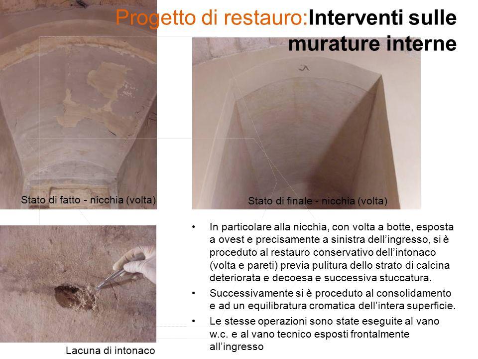 Progetto di restauro:Interventi sulle murature interne