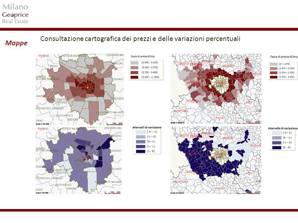 Consultazione cartografica dei prezzi e delle variazioni percentuali