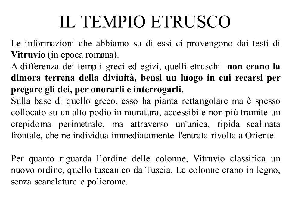 IL TEMPIO ETRUSCO Le informazioni che abbiamo su di essi ci provengono dai testi di Vitruvio (in epoca romana).