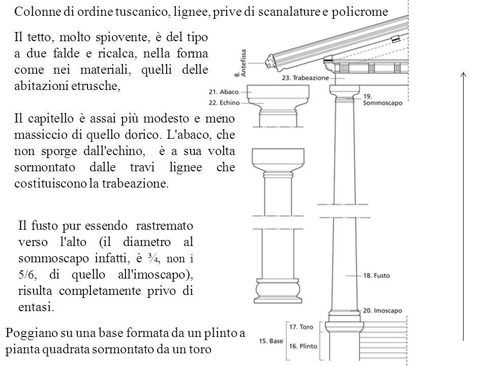 Colonne di ordine tuscanico, lignee, prive di scanalature e policrome