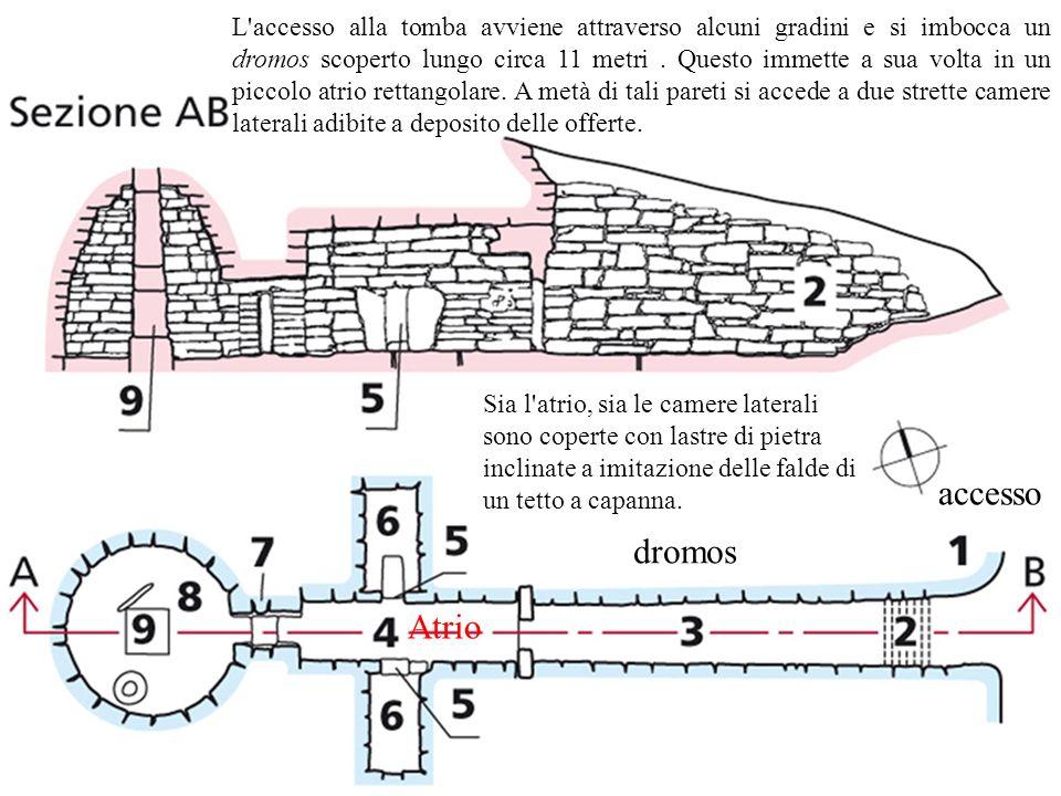 L accesso alla tomba avviene attraverso alcuni gradini e si imbocca un dromos scoperto lungo circa 11 metri . Questo immette a sua volta in un piccolo atrio rettangolare. A metà di tali pareti si accede a due strette camere laterali adibite a deposito delle offerte.