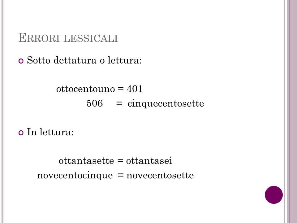 Errori lessicali Sotto dettatura o lettura: ottocentouno = 401
