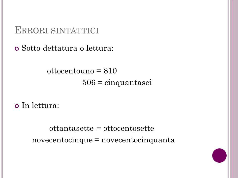 Errori sintattici Sotto dettatura o lettura: ottocentouno = 810