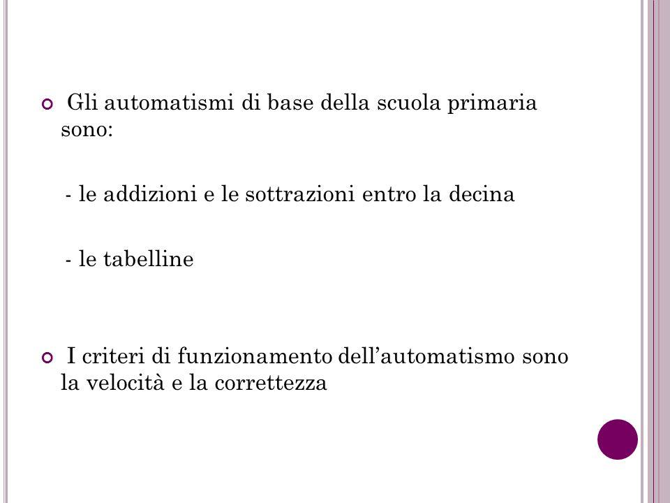 Gli automatismi di base della scuola primaria sono: