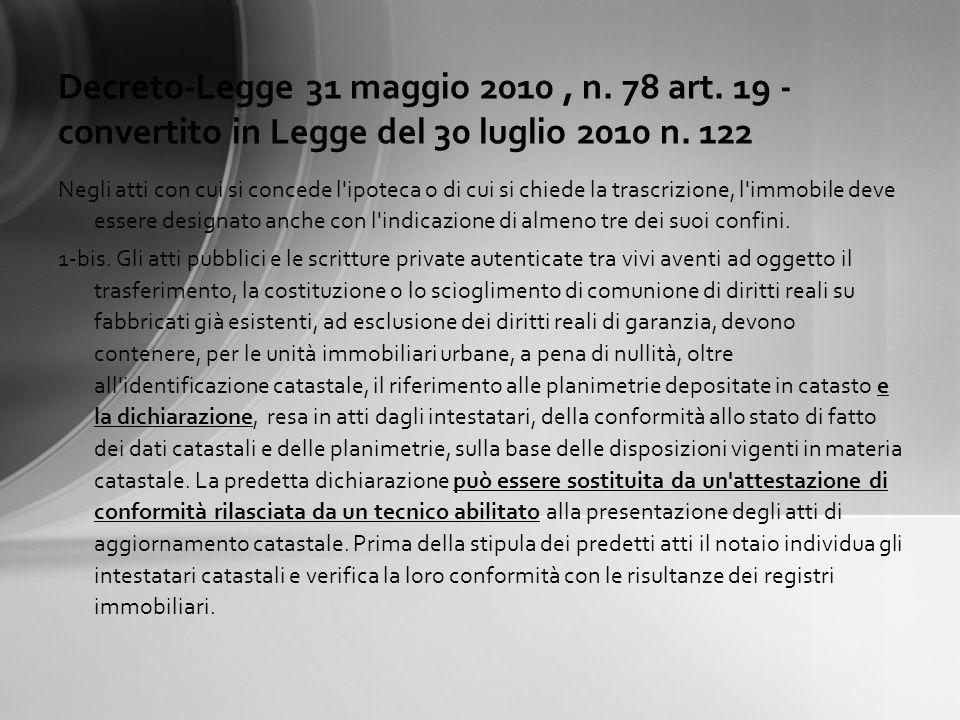 Decreto-Legge 31 maggio 2010 , n. 78 art