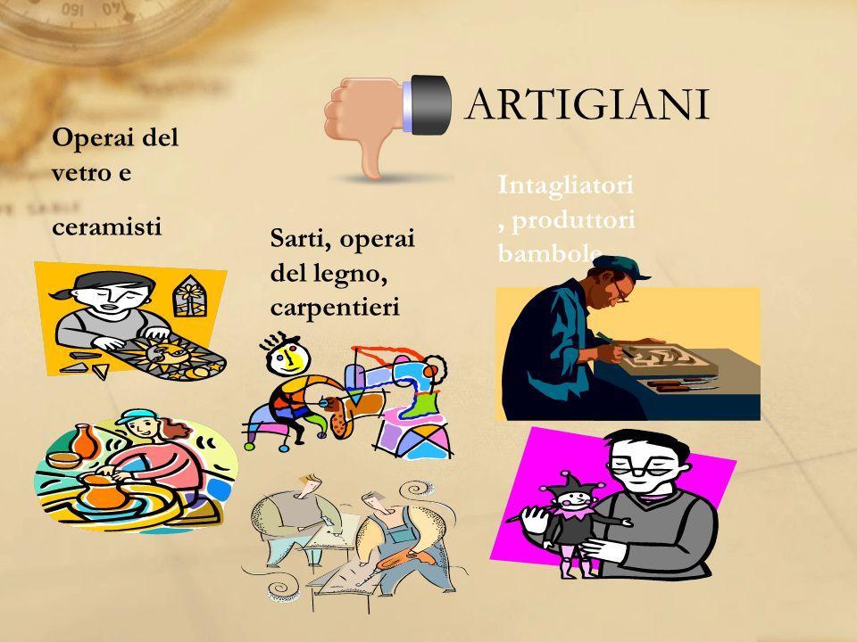ARTIGIANI Operai del vetro e Intagliatori, produttori bambole
