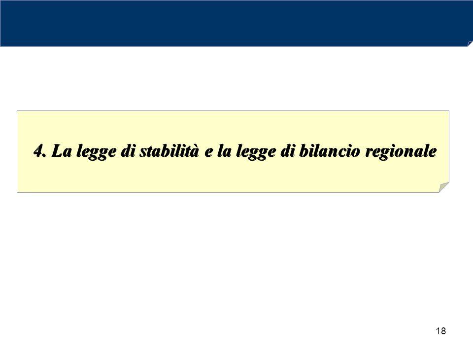 4. La legge di stabilità e la legge di bilancio regionale