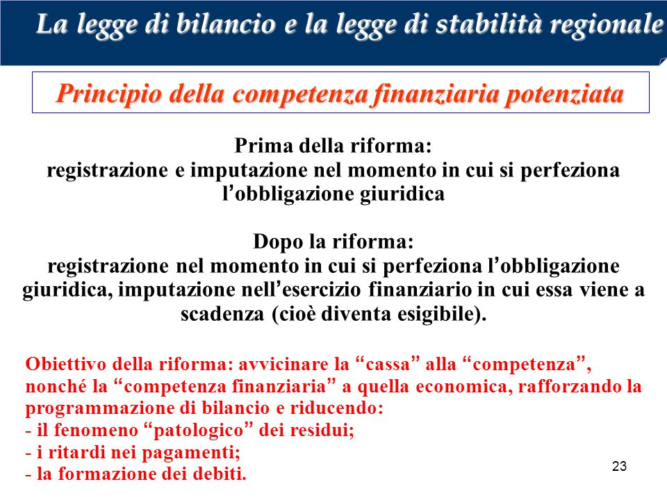 Principio della competenza finanziaria potenziata