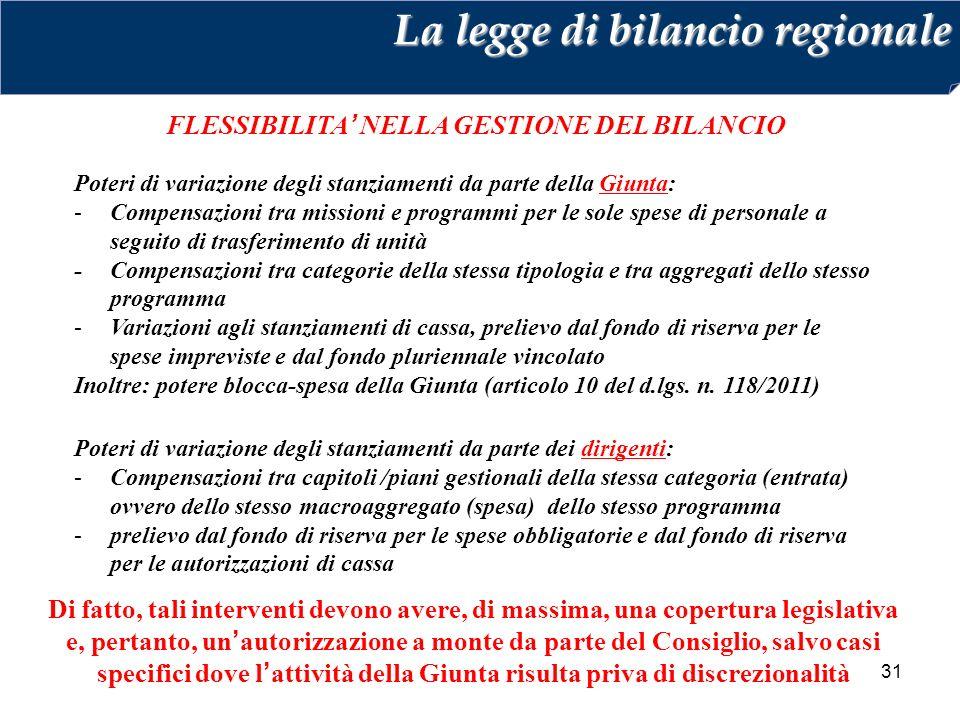 FLESSIBILITA' NELLA GESTIONE DEL BILANCIO