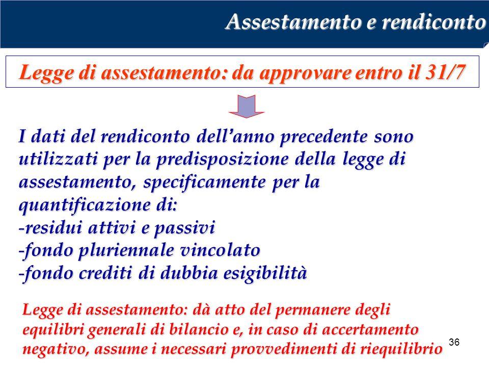 Legge di assestamento: da approvare entro il 31/7