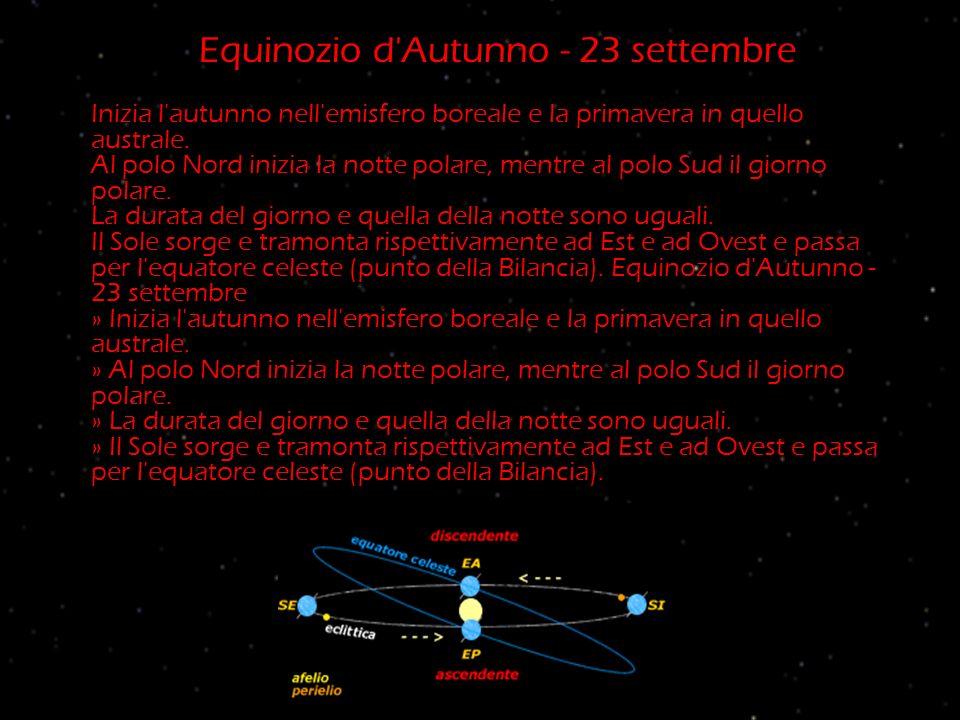 Equinozio d Autunno - 23 settembre Inizia l autunno nell emisfero boreale e la primavera in quello australe.