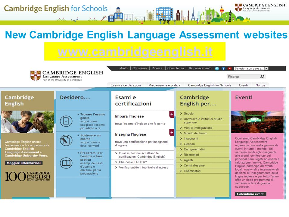 New Cambridge English Language Assessment websites