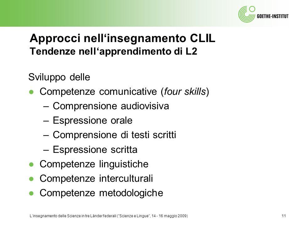Approcci nell'insegnamento CLIL Tendenze nell'apprendimento di L2