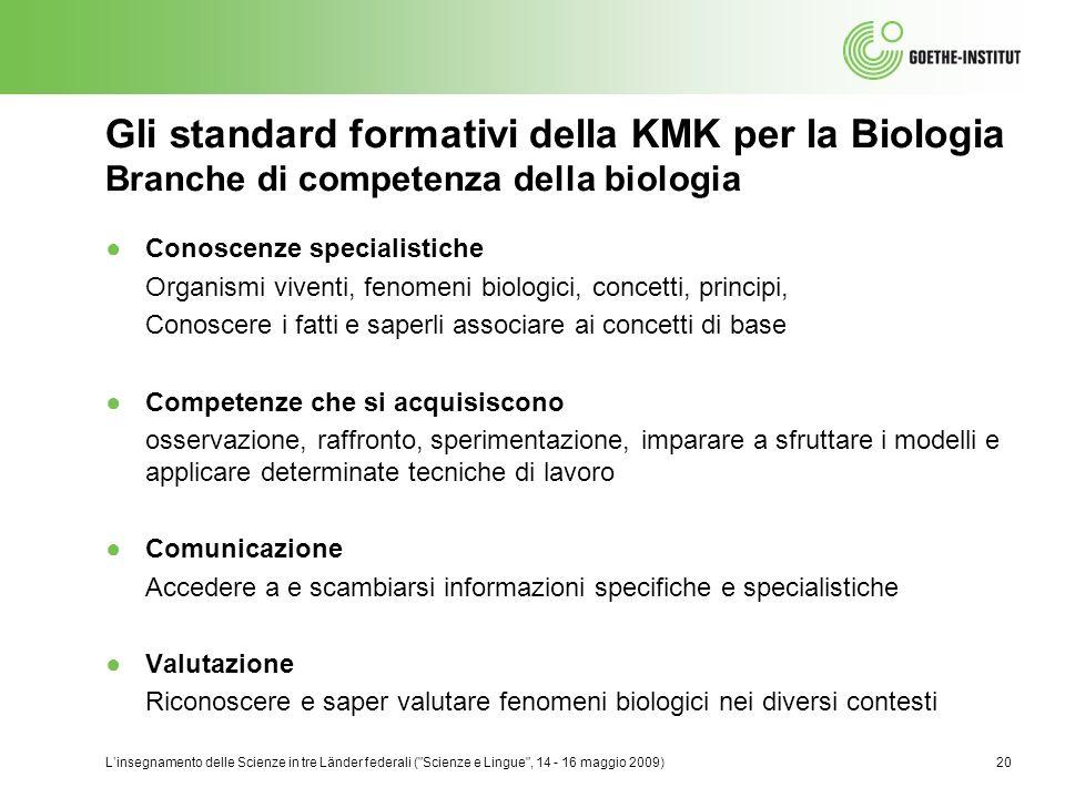 Gli standard formativi della KMK per la Biologia Branche di competenza della biologia