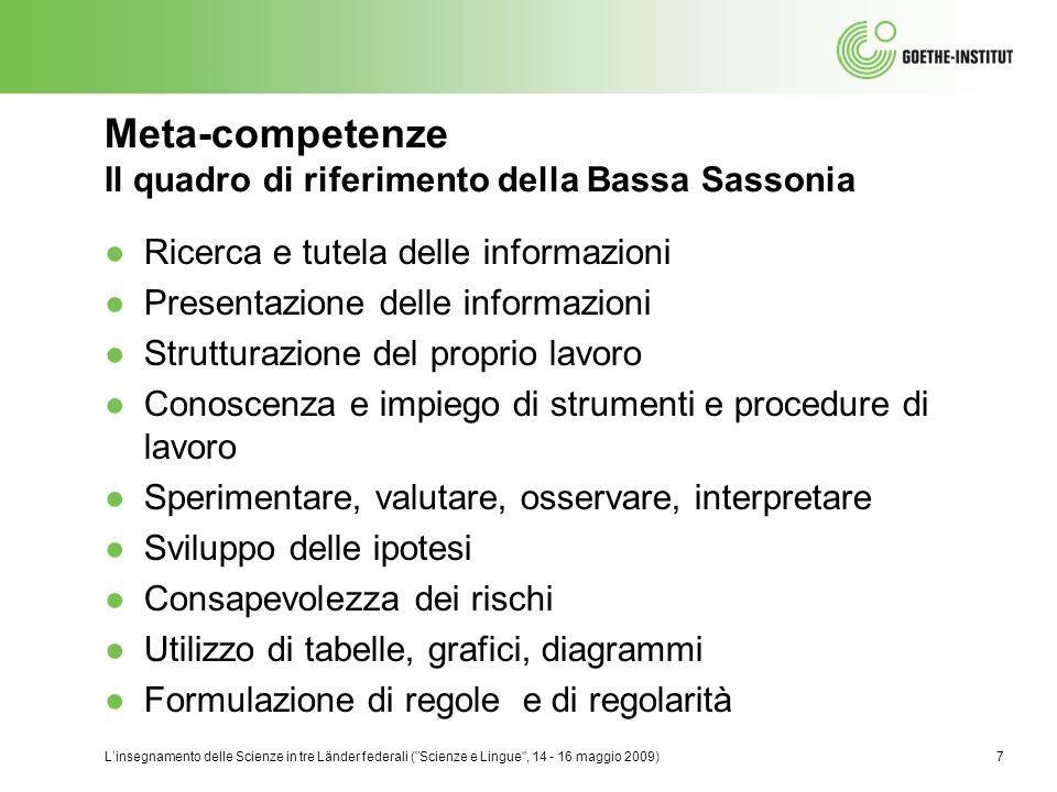 Meta-competenze Il quadro di riferimento della Bassa Sassonia
