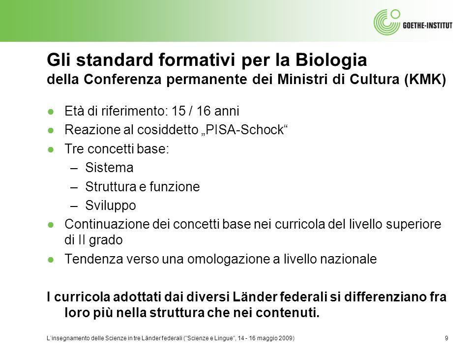 Gli standard formativi per la Biologia della Conferenza permanente dei Ministri di Cultura (KMK)