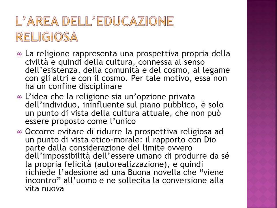 L'area dell'educazione religiosa