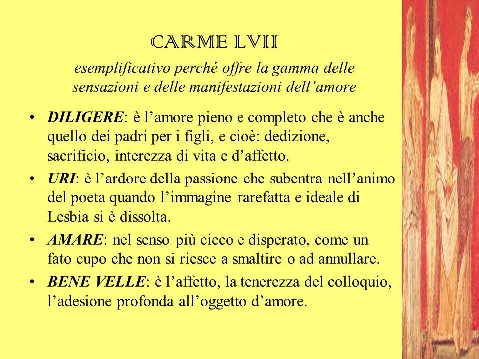 CARME LVII esemplificativo perché offre la gamma delle sensazioni e delle manifestazioni dell'amore