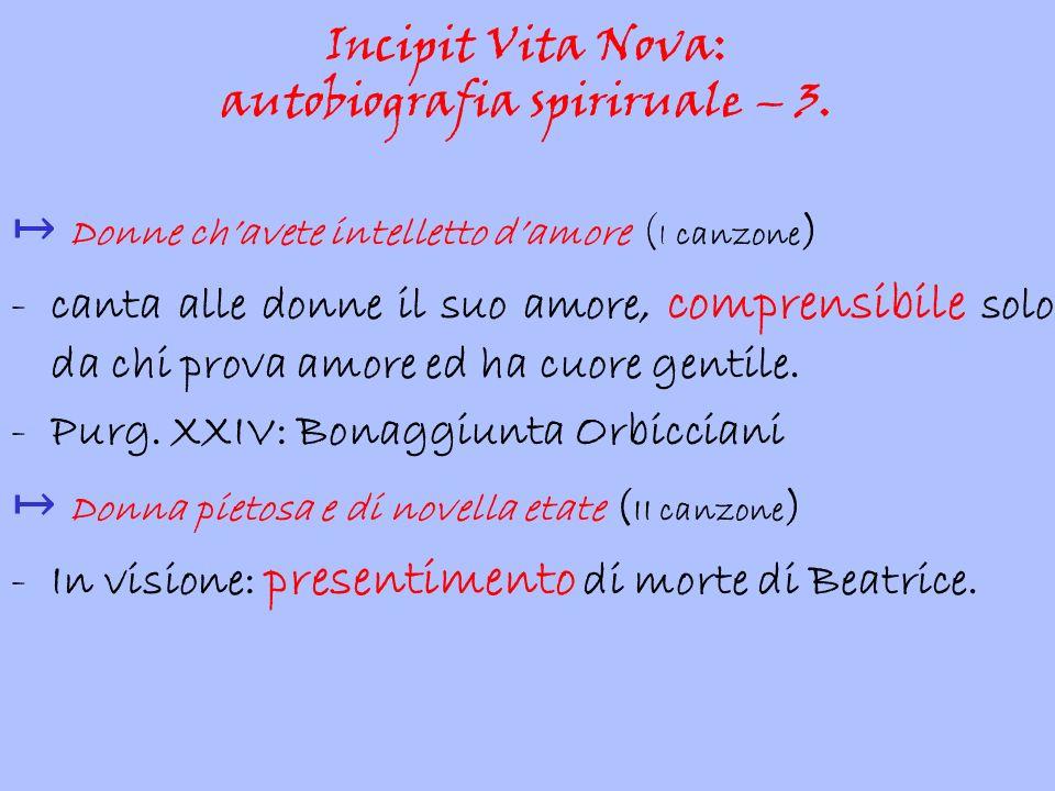 Incipit Vita Nova: autobiografia spiriruale – 3.
