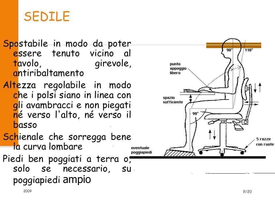 SEDILE Spostabile in modo da poter essere tenuto vicino al tavolo, girevole, antiribaltamento.