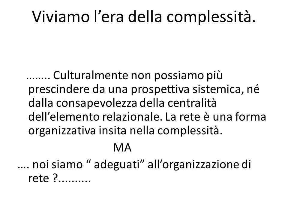 Viviamo l'era della complessità.