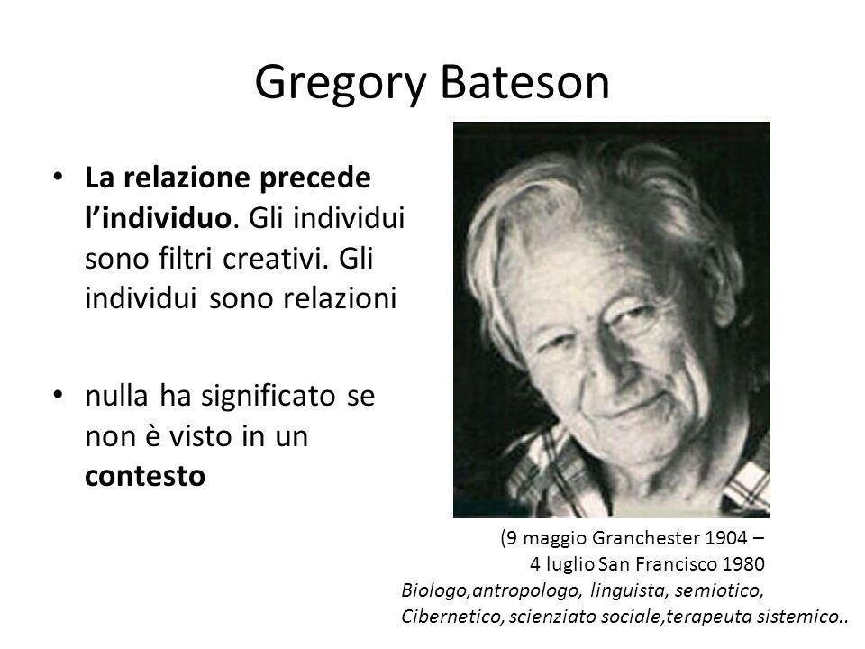 Gregory Bateson La relazione precede l'individuo. Gli individui sono filtri creativi. Gli individui sono relazioni.